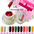 3 Pcs Set Lvmay Brands Painting Gel Soak Off Art Paint Color Gel Nails Polish DIY Paint Drawing UV LED Curing Excellent Gel Ink