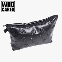 Black skull 3D Printing leather makeup bag women 2016 Fashion travel organizer PU cosmetic bag trousse