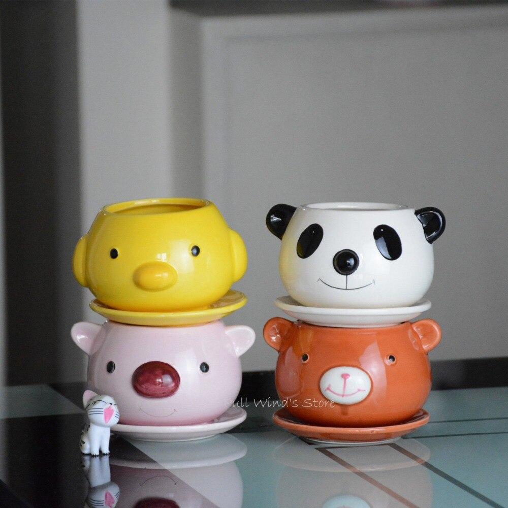 Cute Little Animal Ceramic Small Flower Pot Creative Panda