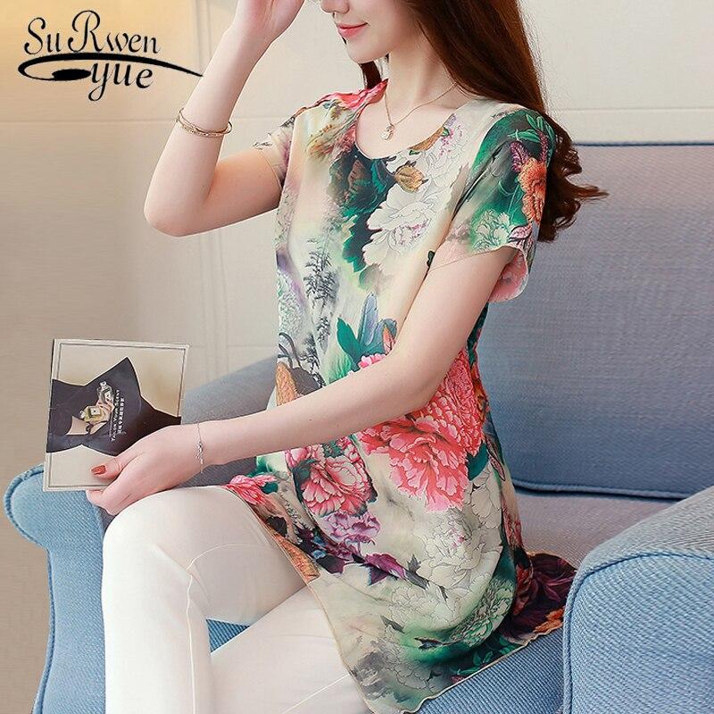 summer tops flora print chiffon women   blouse     shirt   fashion woman   blouses   2019 short sleeve women   shirts   plus size tops 0187 40
