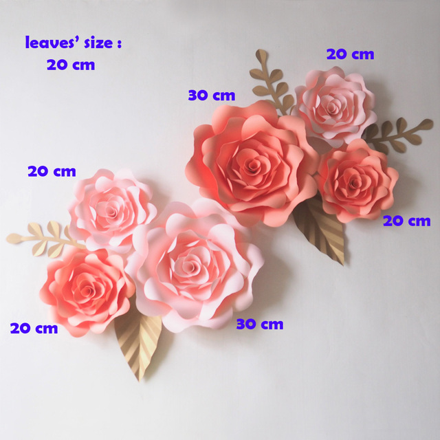 Aliexpress buy diy giant paper flowers backdrop artificial diy giant paper flowers backdrop artificial handmade mix flower 6pcsleaves 5pcs wedding party mightylinksfo