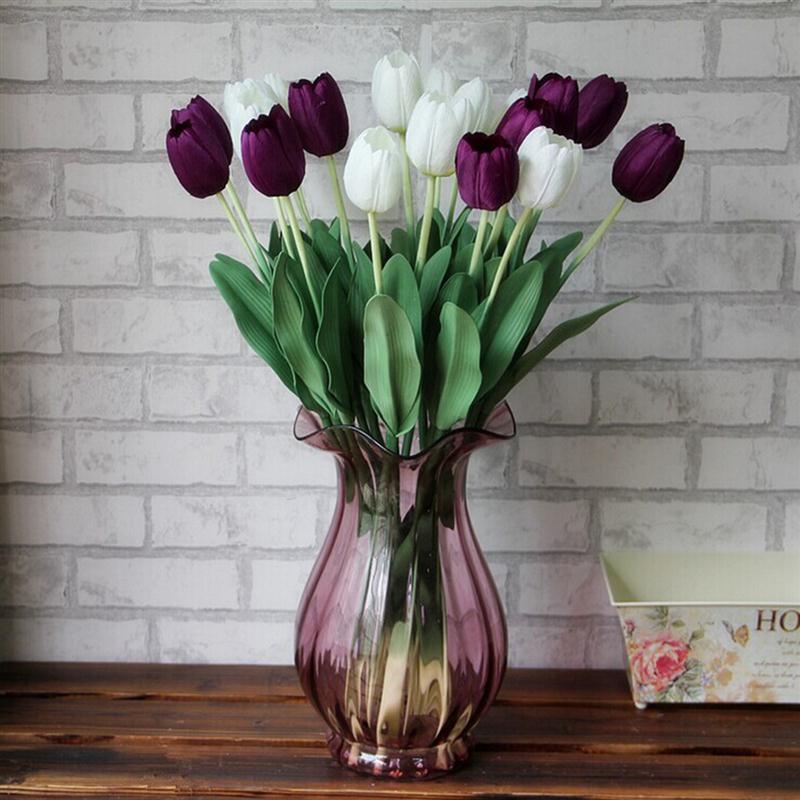Día de la madre 10 unids Tulipa Ramo de Flores Artificiales Flor Artificial Rúst