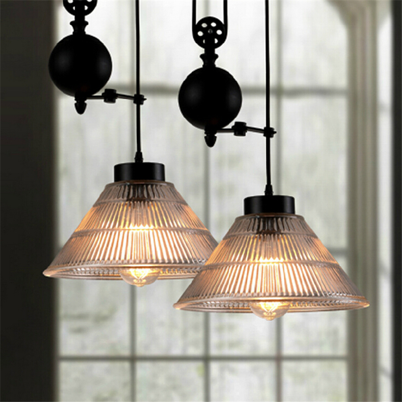 купить Loft Vintage American Country Restaurant Single Head Iron Pendant Light Pulley Glass Bar Cafe Decoration Light Free Shipping по цене 8771.68 рублей