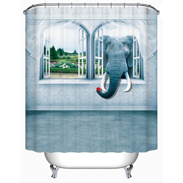 CHARMHOME Elephant Outside The Window Waterproof Shower Curtain High  Quality Eco Friendly Shower Curtains Bathroom