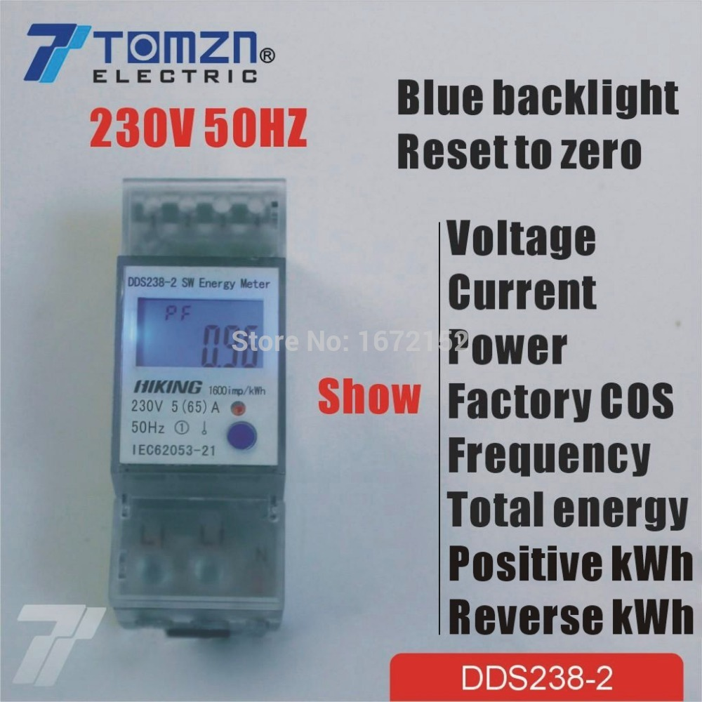 все цены на 5(65)A 230V 50HZ display voltage current Positive reverse power reset to zero Single phase Din rail KWH Watt hour energy meter онлайн