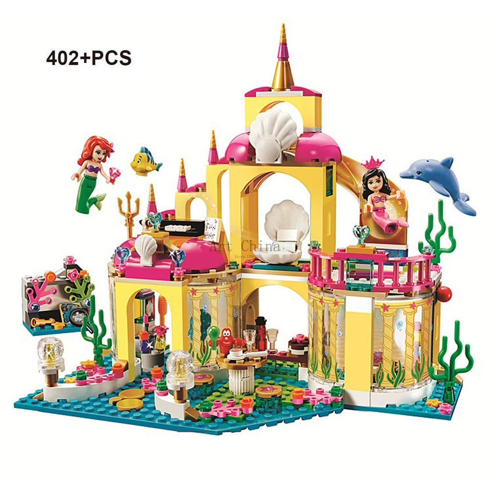 JG306 Princess Mermaid Ariel Undersea Palace Buildings Bricks Blocks Block Friends 41063 Building Blocks Toys Compatible dolls the little mermaid ariel princess dress cosplay adult ariel mermaid costume women mermaid princess ariel green dress cosplay