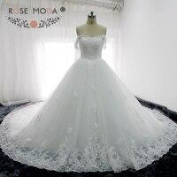 Rose Moda Sang Trọng Tắt Vai Puffy Chúa Wedding Gown Bóng Nhà Thờ Hoàng Gia Train Giáo Wedding Dress 3D Flowers
