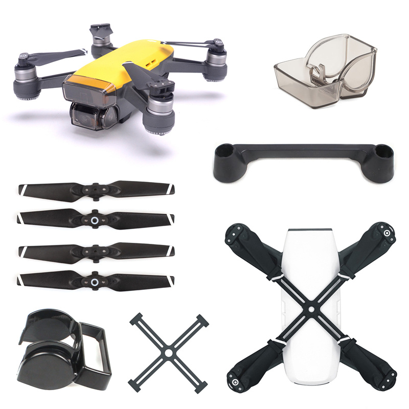 For DJI Spark Accessories Remote Controller Joystick + Lens Cap + Sunshade + Propeller + Prop Clip Protector For DJI Spark Drone