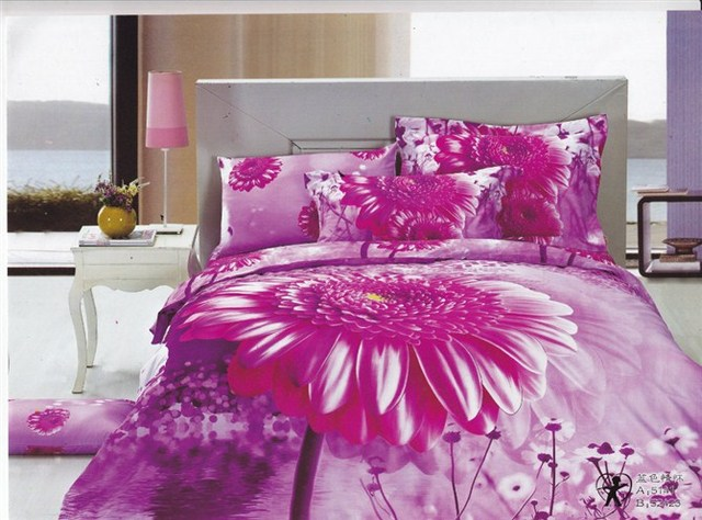 2013 New Beautiful 100% Cotton 4pc Doona Duvet QUILT Cover Set bedding sets Full Queen King size 4pcs purple flower sea