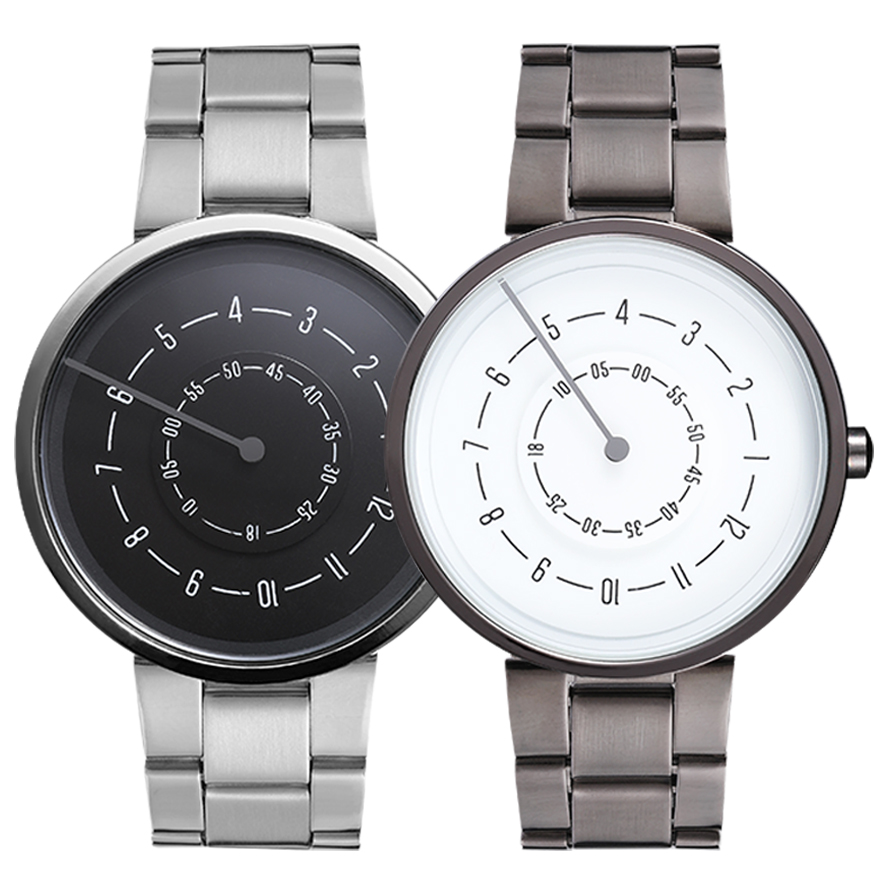 Couple Watch Men Women Minimalist Turntable Numbers Dial Wristwatch Casual Steel Fashion Black White Sport Male Clock For Lovers