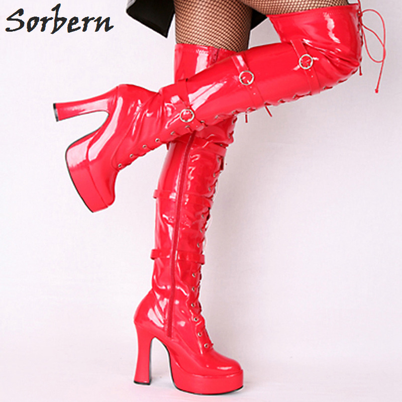 Sorbern Sexy Over The Knee Boots For Women Platform Square Chunky Heels Custom Womens Platform High Ladies Shoes Size 43 New nasipal 2017 new women pu sexy fashion over the knee boots sexy thin high heel boots platform woman shoes big size 34 43 g804