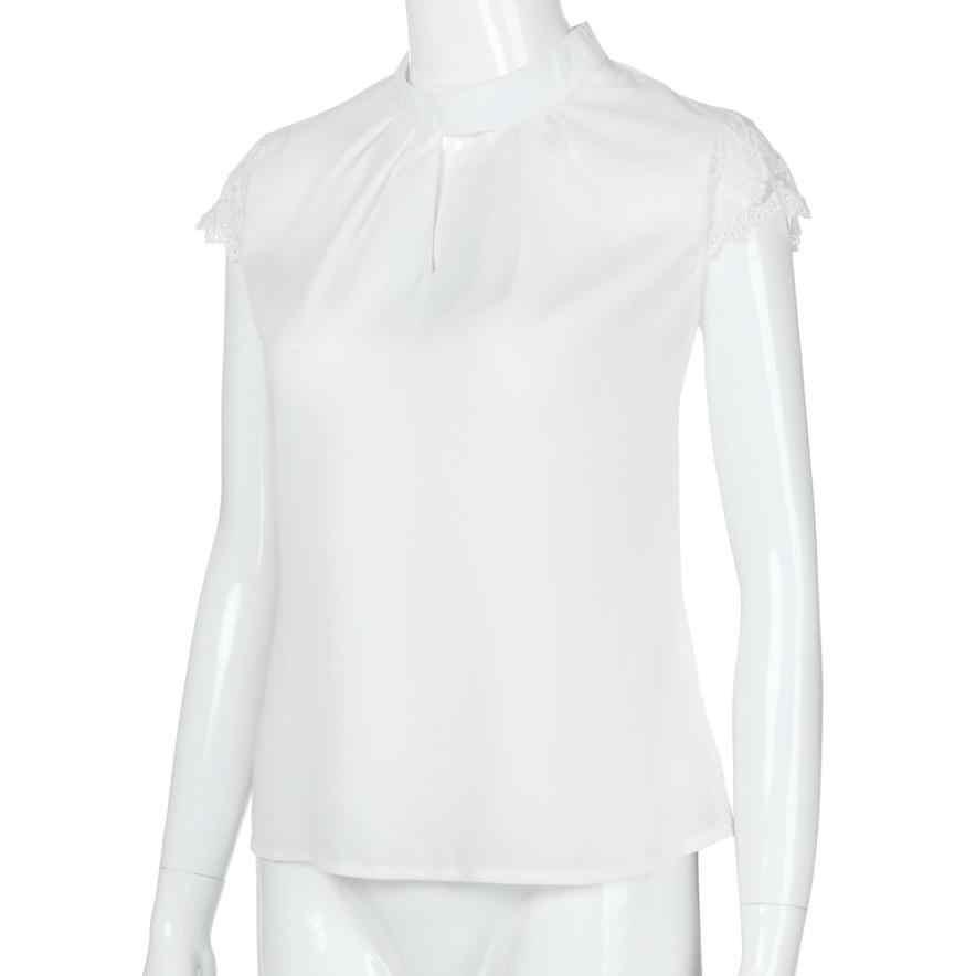 KANCOOLD トップス高品質女性カジュアルシフォン半袖トップレース tシャツ夏の 2018MA7