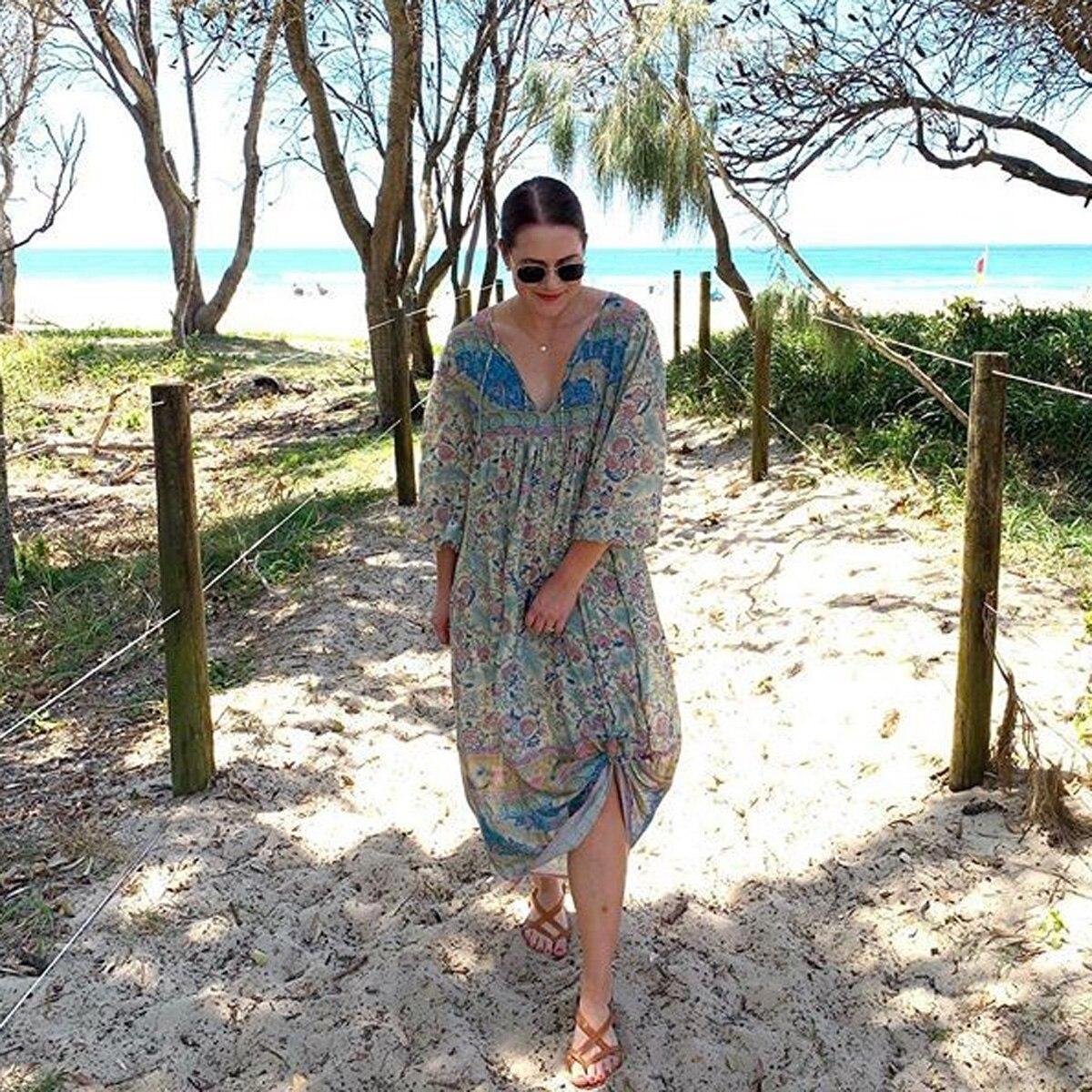 4b47953b3135c Jastie Dreamy Oasis Boho Maxi Dress V-Neck with Tassel Hippie chic ...