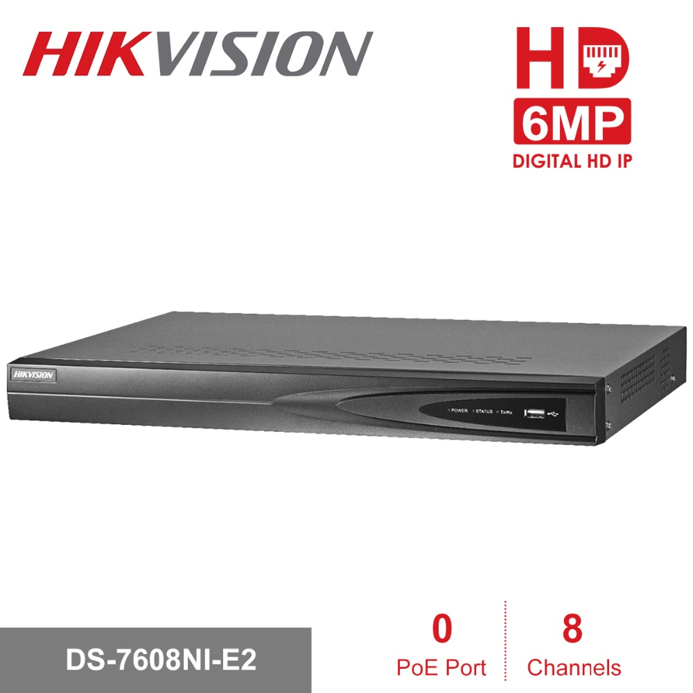 Hikvision-US 8CH 6MP Embedded Plug /& Play NVR//8 Port PoE//DS-7608NI-E2//8P