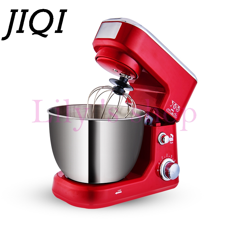 JIQI Electric cooking stand Food Mixer egg beater dough Blender Baking Whipping cream tilt head kitchen chef Machine 6 Speeds 4L