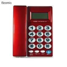 Alta Calidad Botón Grande de La Moda Telefónica Identificador de llamadas Teléfono de la Oficina Teléfono Fijo Fijo Sin Batería Para El Hogar Rojo Para Las Personas Mayores