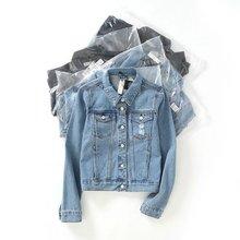 Purebliss 2017 black autumn casual short oversized distressed jaqueta jeans jacket women basic holes denim jacket washed women