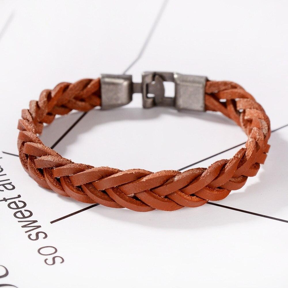 Handmade Simple Style Bracelet friendship Braided Genuine Leather Chain Unisex Bracelets for Female Male Jewelry