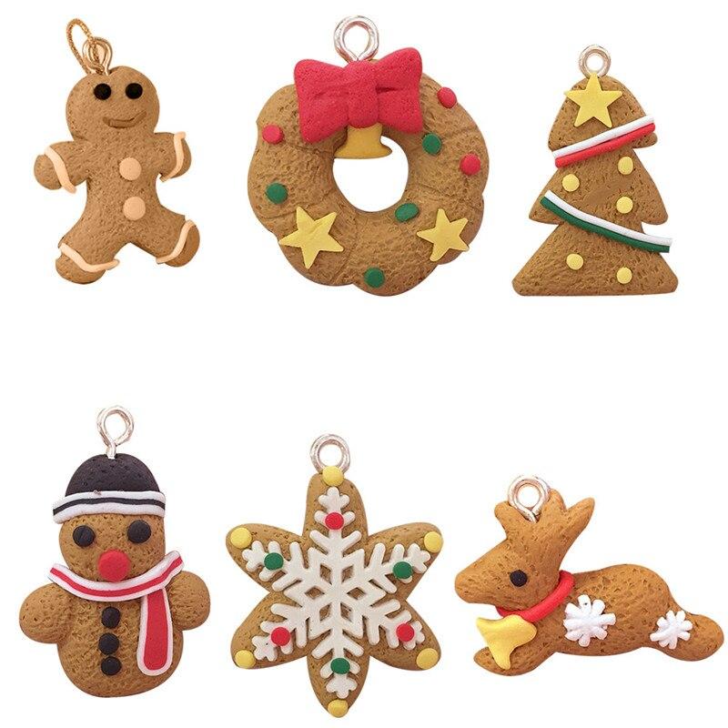 6Pcs Gingerbread Man Christmas Ornaments Deer Snowman Chrismas Tree Pendant Decoracion Navidad New Year Decor Party Suplies