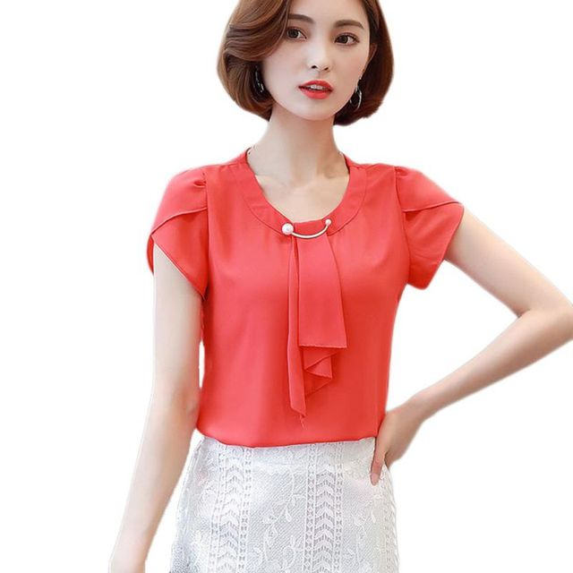 98d58e88f523 chiffon butterfly short sleeve blouse o neck solid blouses beading blouse  women shirts women office lady