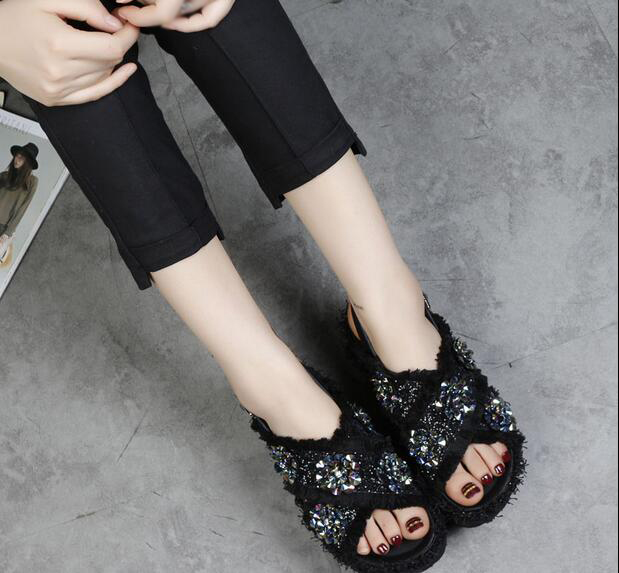 2017 gladiator casual sandals for women summer flat black white fringe Women's Platform Shoes crystal flower zapatos woman phyanic 2017 gladiator sandals gold silver shoes woman summer platform wedges glitters creepers casual women shoes phy3323