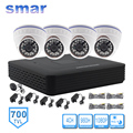 CCTV 4CH Full D1 Hybrid DVR 4PCS 700TVL IR Indoor Dome Camera 24 LEDs Home Security System Surveillance Kits No HDD
