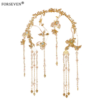 2017 New Chinese Wedding Crystal Tiara Butterfly Shape Gold Head Chain For Bride Hair Accessories Women