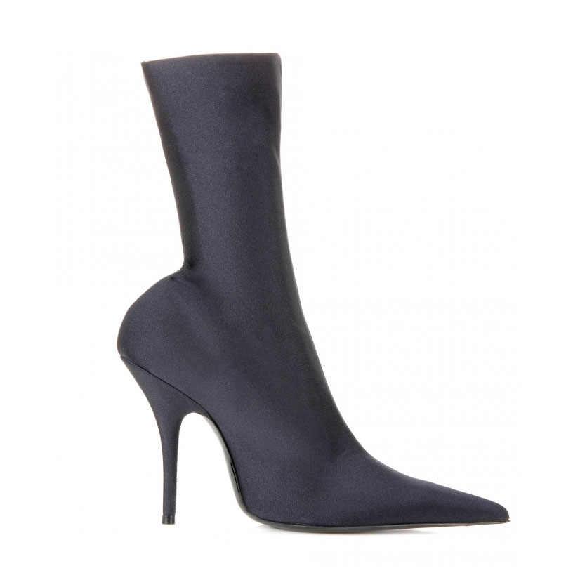 JAWAKYE sivri burun Çorap yarım çizmeler Kadın Parti Yüksek Topuklu Elastik kısa çizmeler Kadın Çorap Bandaj yarım çizmeler Kadın Pompaları