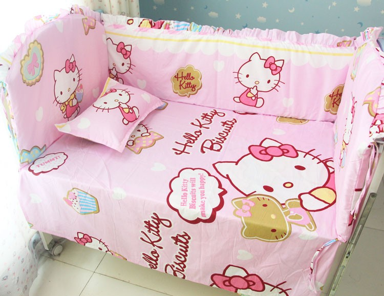 Promotion! 6PCS Cartoon Baby Crib Bedclothes Set Cotton 100% Cotton Washable Baby Bedding Set (bumpers+sheet+pillow cover)