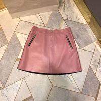 2018 Новое поступление осень и зима Для женщин юбка карман пчела вышивка 100% овчины Высокая Талия розовая юбка Бесплатная доставка