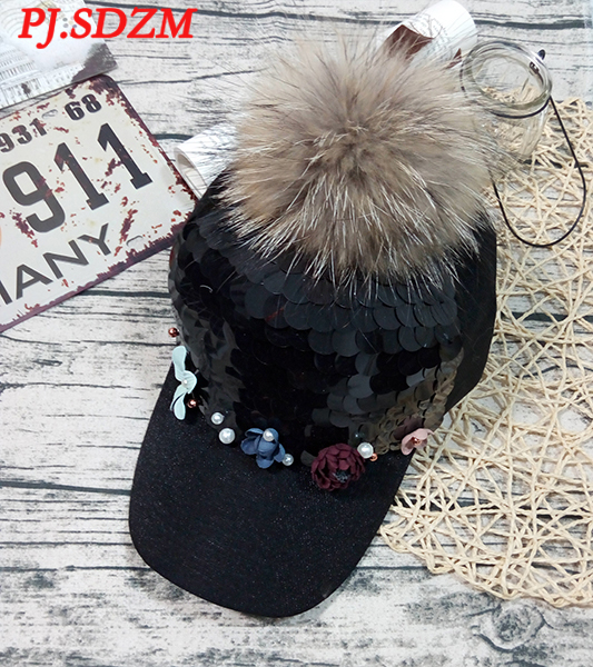 PJ.SDZM Autumn and Winter Women Fashion Sequins Baseball Cap Hip hop Flowers Hat Fashion Fur Hat