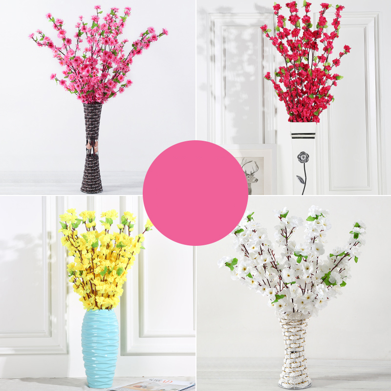 Xuanxiaotong 5pc 65cm Pink Peach Flower Artificial Branches for Home Decoration Plastic Flower Bouquet Plum Blossom Branches in Artificial Dried Flowers from Home Garden