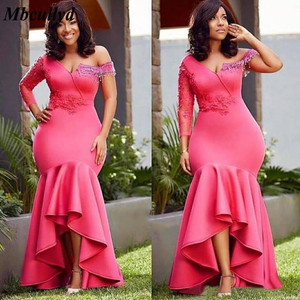 Image 2 - African Mermaid Bridesmaid Dresses Long 2020 Single Long Sleeves Pink Wedding Guest Maid Of Honor Dress Party For Women