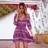 Explosions Leisure Vintage Dresses Summer Fall Women Ladies A Line Flower Print Spring Casual Fashion Collar