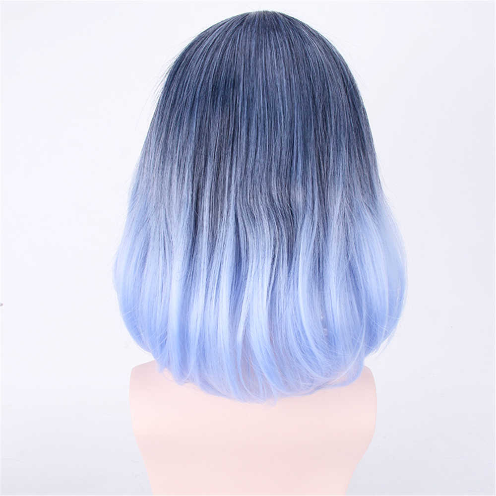 Girl black blue two-color gradient color long curly hair long pear flower hair wig costume halloween anime unisex cosplay