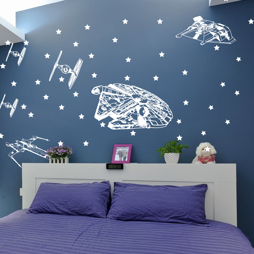 Large Star Wars Spacecraft Ship Wall Sticker Boy Room Bedroom Star Wars Starfighters Star Wall Decal Kids Room Living Vinyl