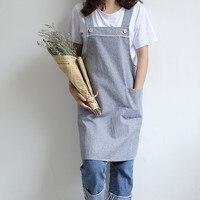 Blue Pink Gray Cotton Linen Long Apron Barista Cafe Waitress Bar Bakery Catering Uniform Painter Florist