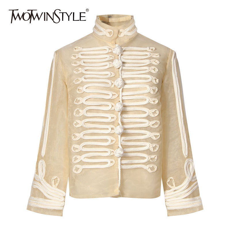 TWOTWINSTYLE Palazzo Coat For Women Stand Collar Appliques Patchwork Buttons Long Sleeve Vintage Jacket Autumn Fashion