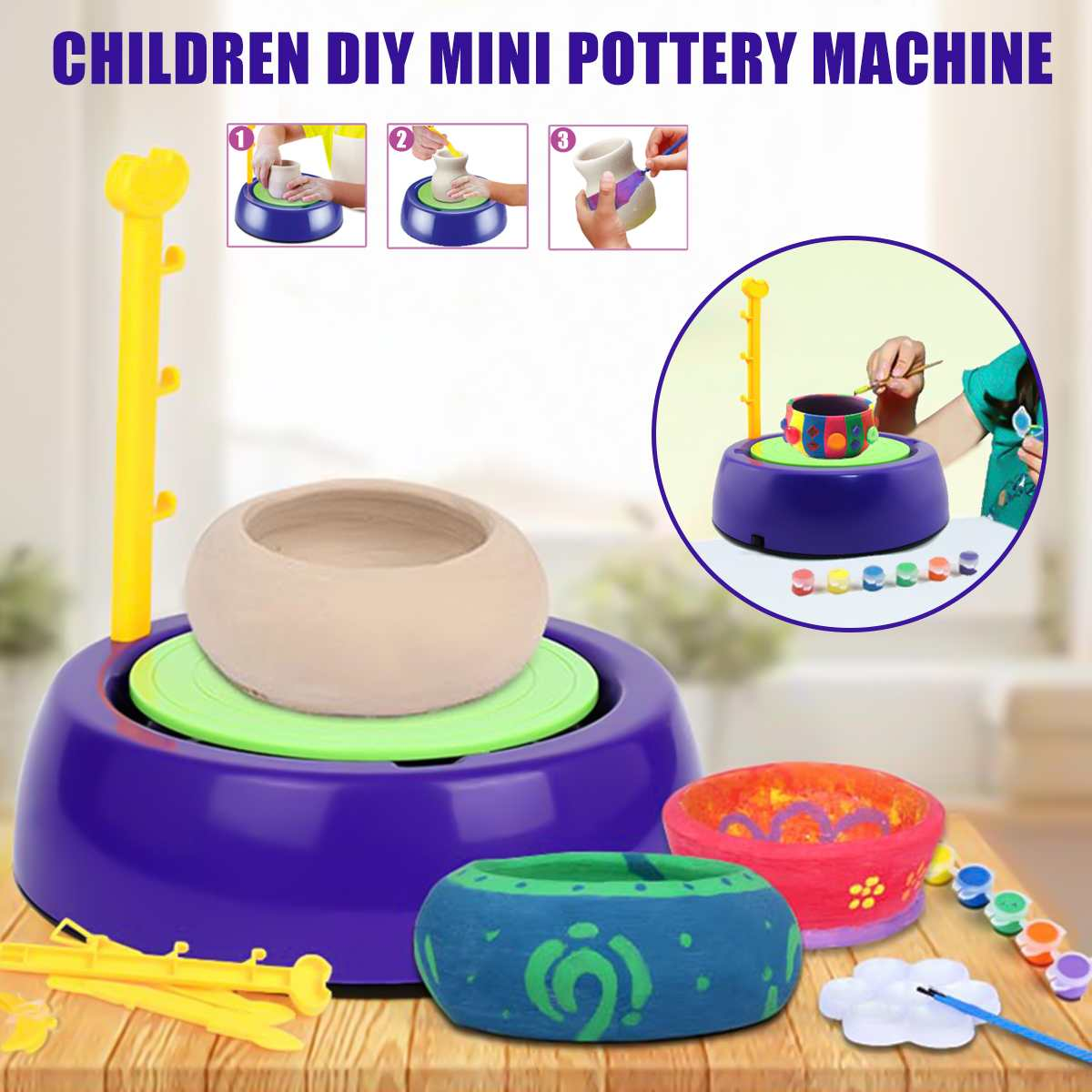 Portable 3V Mini DIY Handmake Electric Ceramic Pottery Machine Pottery Wheels Kids Arts Craft Educational Christmas Gift Toys