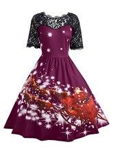Women Christmas Lace Panel Father Midi Party Dress