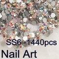 Pequeño tamaño de la ES6 1440 unids Ronda Flatback Crystal AB Del Arte Del Clavo Para los Clavos DIY Arte Del Teléfono Celular Y la Ropa