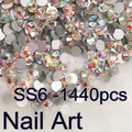 Small size SS6 1440pcs Round Flatback Crystal  AB Nail Art Rhinestones For DIY Nails Art Cell Phone And Clothes