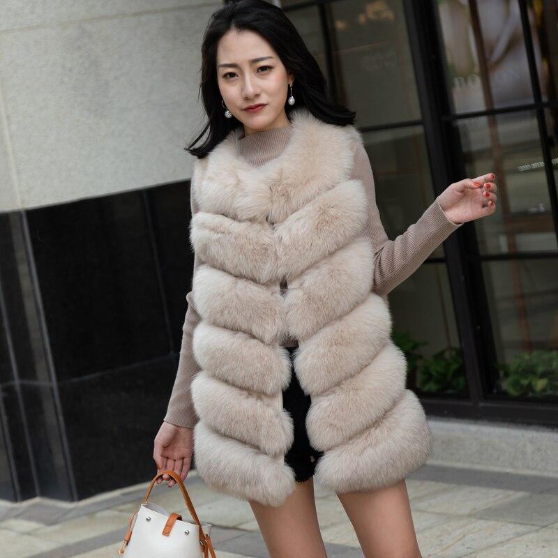 Di lusso Reale della Pelliccia di Fox Gilet Per Le Donne di Volpe Naturale Cappotto di Pelliccia Senza Maniche Stile di Modo Delle Donne Giacca di Pelliccia Gilet Autunno Femminile outwe