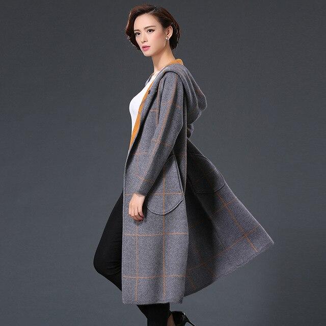 Danjeaner Mới Mùa Xuân Mùa Thu Trùm Đầu Sọc Dệt Kim Áo Len Cardigan Phụ Nữ mùa đông Jacket Loose Lớn Bãi Joker Áo Len Dài Áo
