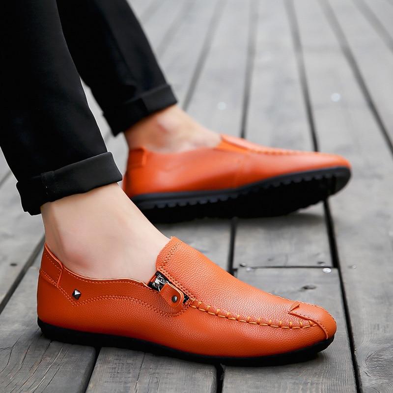 Perezosos Cuero Cómodo Negro Hombre naranja Conducción Respirable Hombres Otoño De Primavera Casuales blanco Zapatos Mocasines Planos a0vUtv