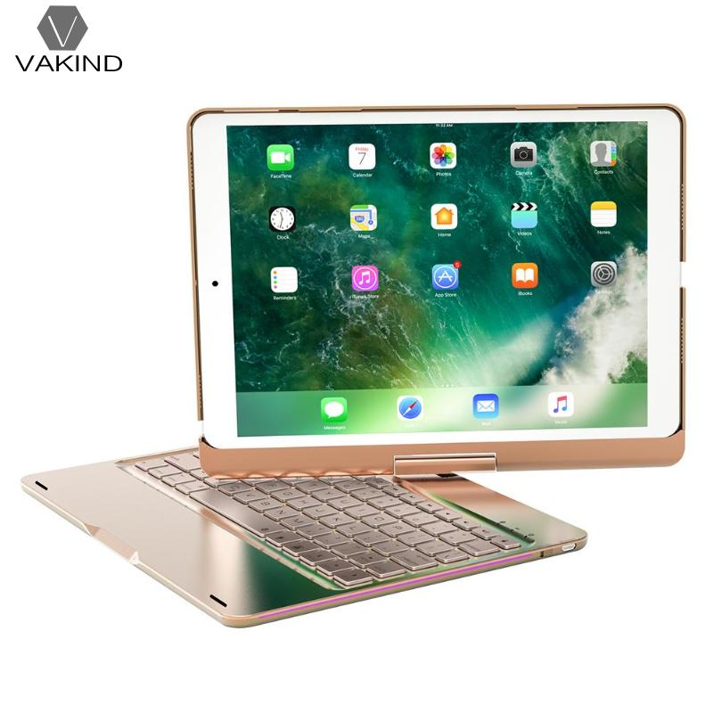 VAKIND 360 Degree Portable Rotation Wireless Bluetooth Keyboard 7 Color LED Backlit 77keys PC Tablet Accessory for iPad Pro10.5 m08 360 degree rotation scooter bracket w c60 back clamp for 7 10 inch tablet pc black