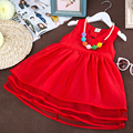 2016 Summer Fashion Girls Dress Cotton Knee-length Red Sleeveless For Baby Girls Casual V-neck Cute Girls Clothes