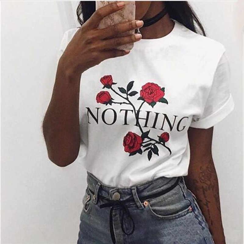 Nic list Rose drukuj Harajuku biały hip-hop koszule Camis nowy lato z krótkim rękawem odzież codzienna Punk Rock Tank Tops kobiet