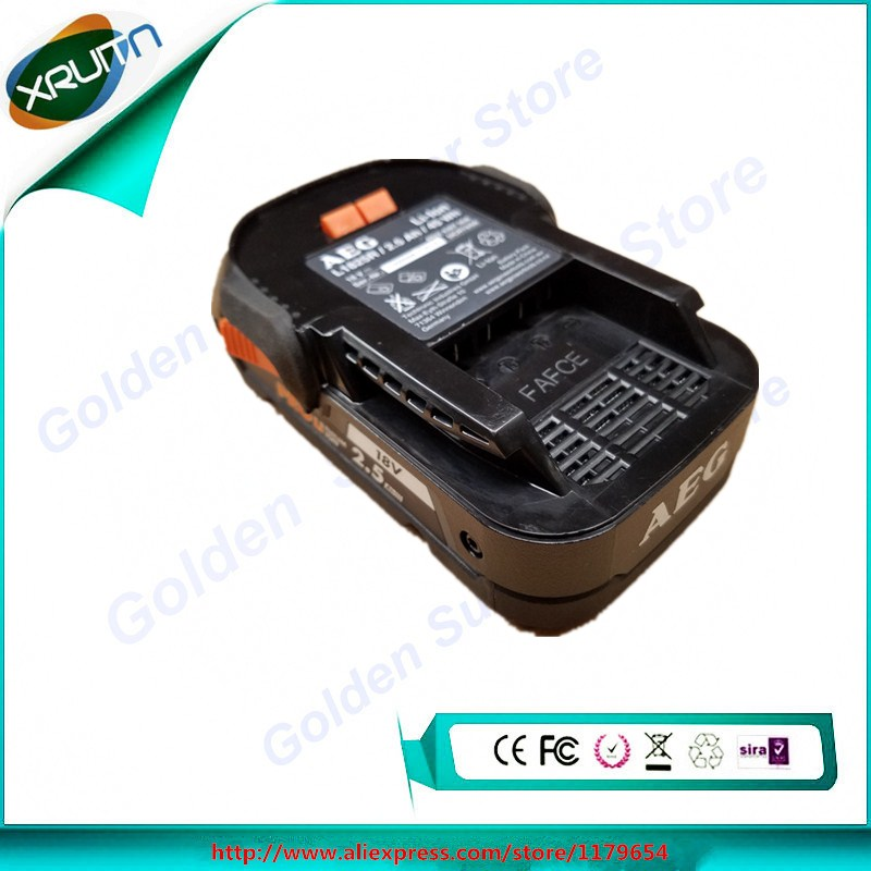 free shipping for aeg ridgid r840085 genuine 18v 2 5ah 2500mah hyper li ion slim battery. Black Bedroom Furniture Sets. Home Design Ideas