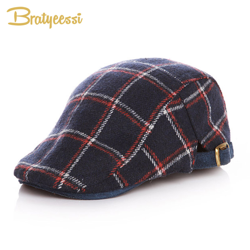 Classic Wool Kids Beret Hats for Boys Handsome Plaid Baby Boy Hat Winter Spring Accessories for 2-5 Years цена 2017